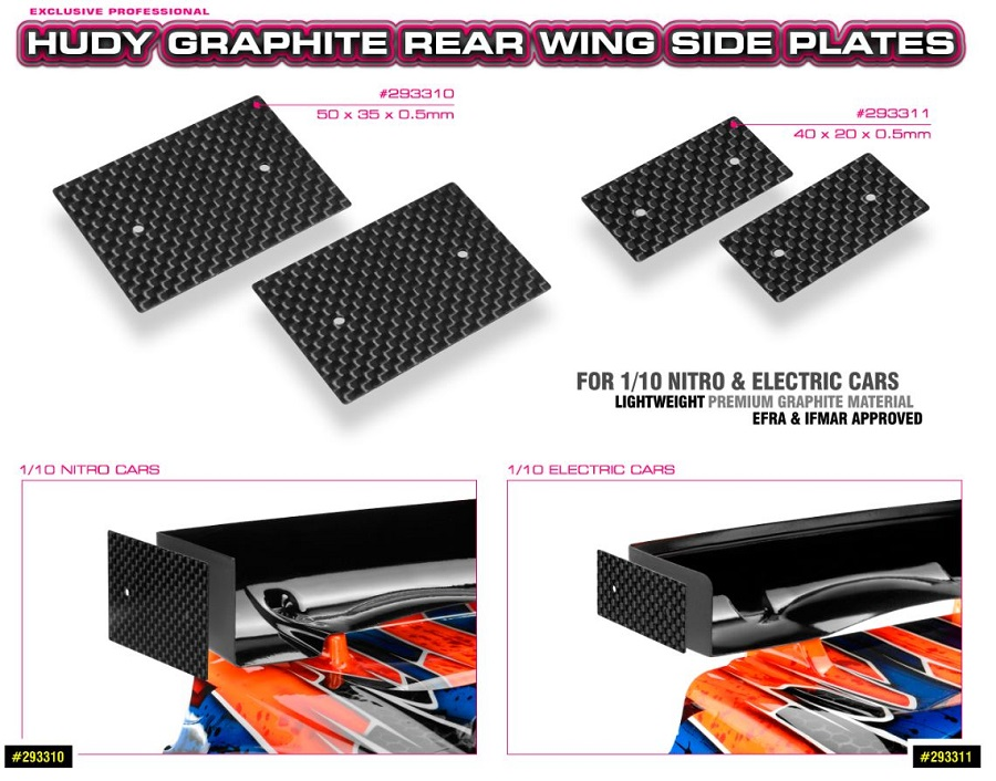 HUDY Graphite Rear Wing Side Plates