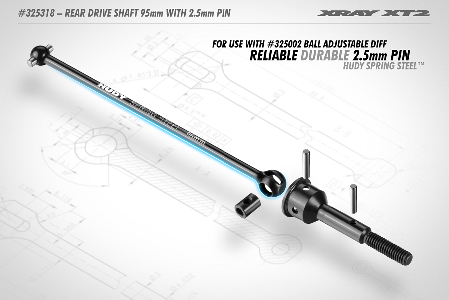 XRAY XT2 Rear Drive Shaft 95mm With 2.5mm Pin- HUDY Spring Steel