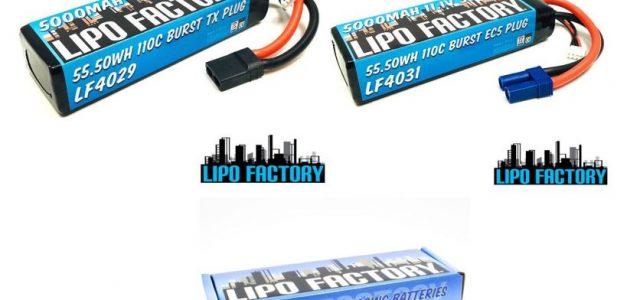 Lipo Factory 3S 11.1V 5000mah 55C LiPos With TX & EC5 Plugs