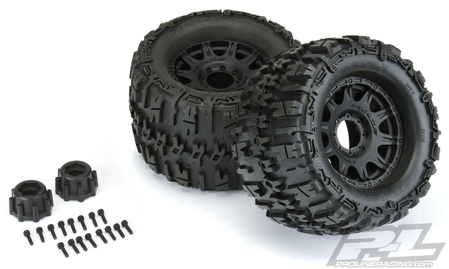 "Pro-Line 3.8"" Pre-Mounted 17mm Monster Truck Tires"