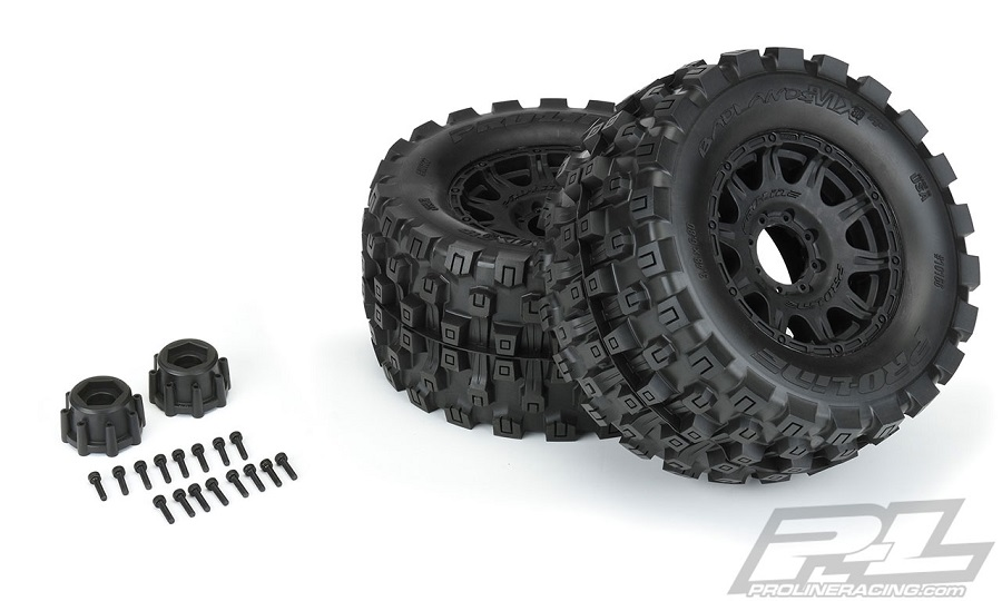 "Pro-Line Badlands MX38 HP 3.8"" All Terrain BELTED Tires Mounted"