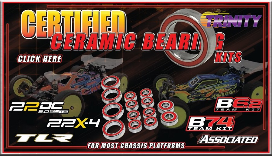 Trinity Ceramic Bearing Kits For The B6.2, B74, 22 5.0 Elite & 22X-4