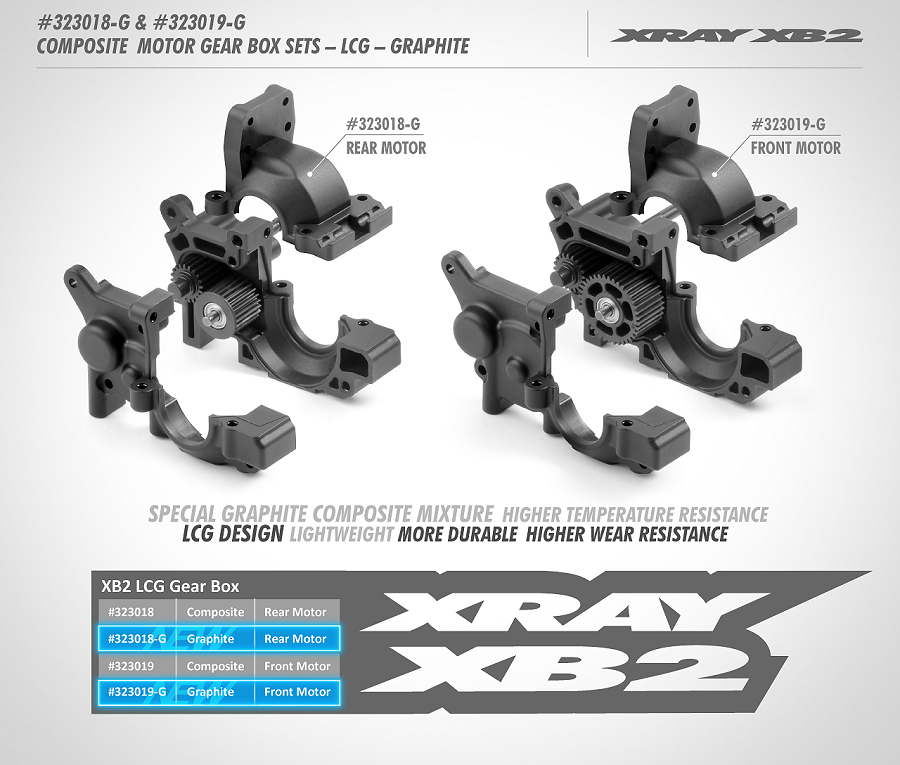 XRAY G Composite Front & Rear Motor Gear Box LCG Graphite Set