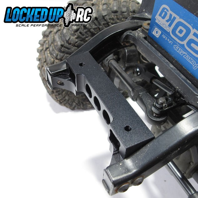 This TRX-4 Bumper Mount is NOT a factory replacement but it does bolt right in. This mount moves your bumper mounting location 9mm back and 7mm up. This allows you to tuck your bumper in and raise it to get it away from the rocks. Depending on the body you run this may require some trimming. Includes: 1x Aluminum Bumper mount with black anodized finish #650-trx4bm-9h7v - $19.99