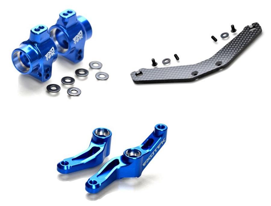 Exotek DR10 Carbon Fiber Rear Body Mount, Alum Steering Crank & Rear Hubs