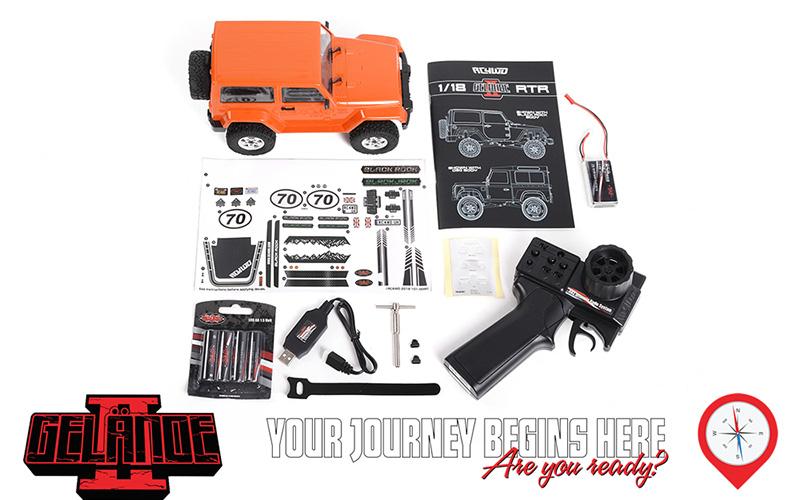 RC4WD 1/18 Orange Gelande II RTR With Black Rock Body Set