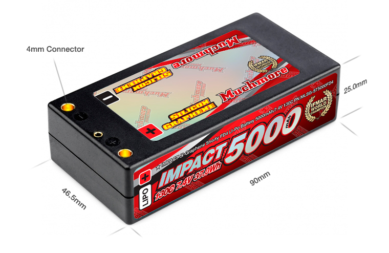 Muchmore IMPACT FD4 5000mAh 7.4V 130C Shorty Flat Hard Case LiPo Battery