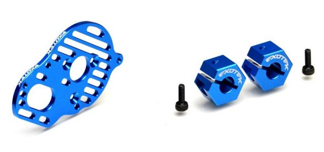Exotek Rear Clamping Hexes & Slotted Motor Plate For The DR10