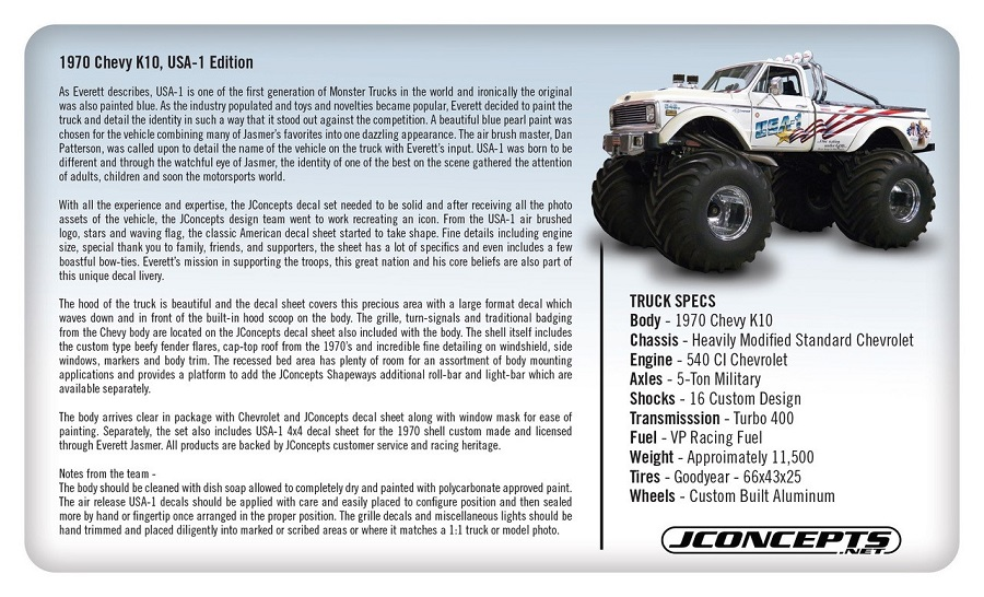 JConcepts 1970 Chevy K10 USA-1 Edition Monster Truck Body