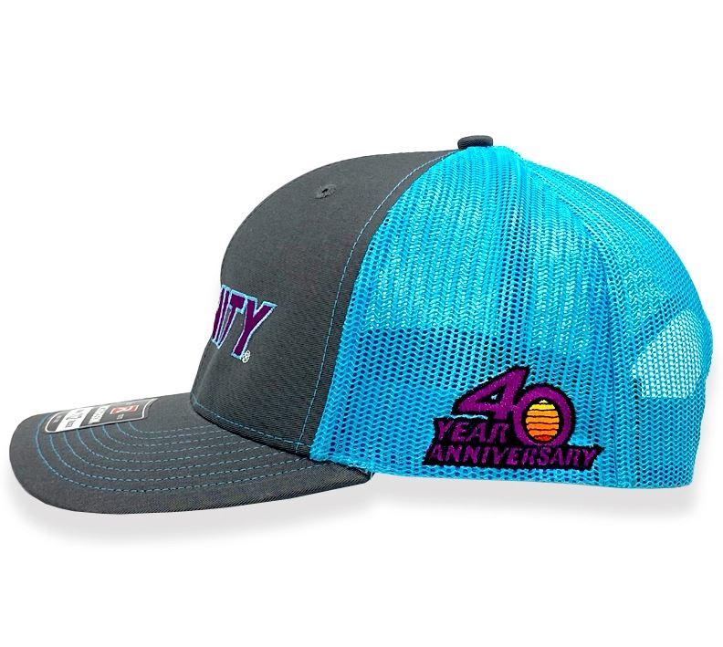 Trinity Trucker Hat Teal Mesh With 40th Anniversary Logo