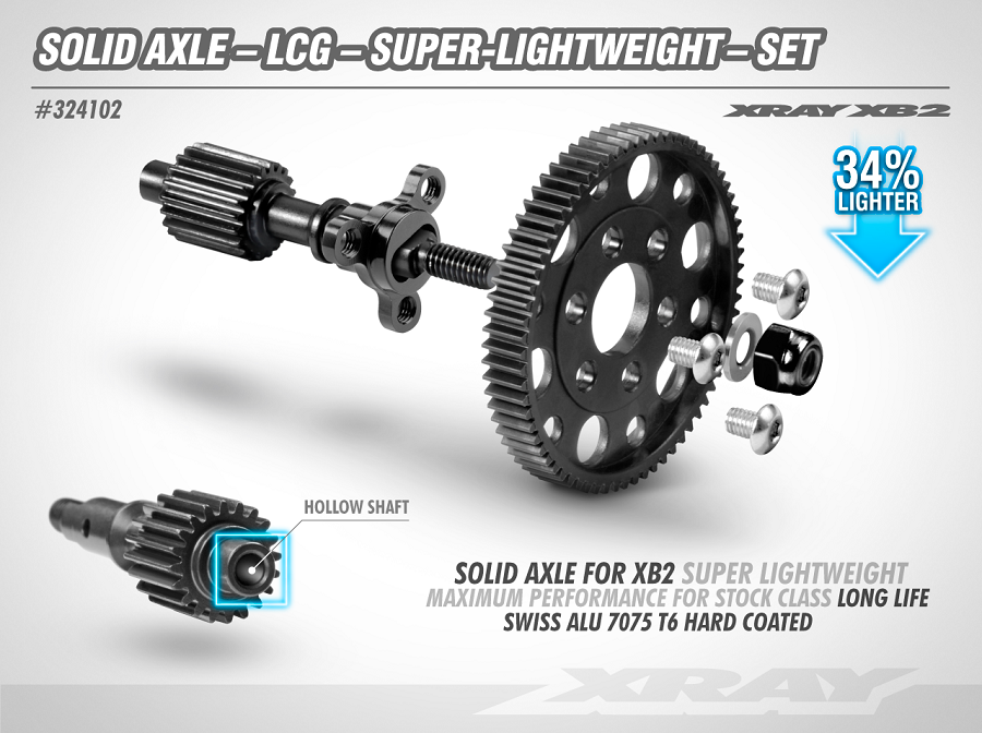 XRAY Solid Axle LCG Ultra-Lightweight Solid Axle For The XB2