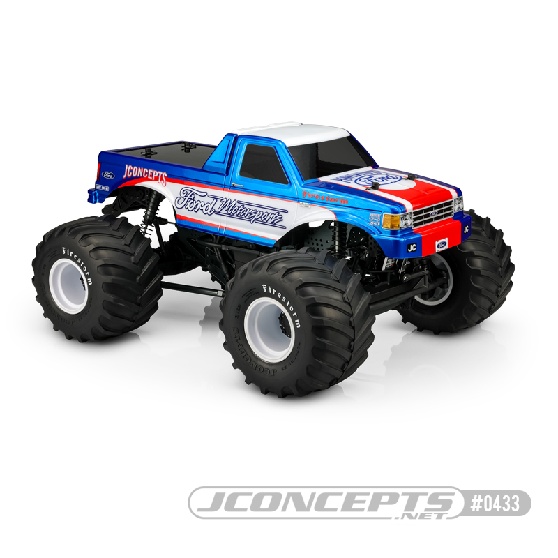 JConcepts 1989 Ford F-250 Clear Monster Truck Body With Racerback