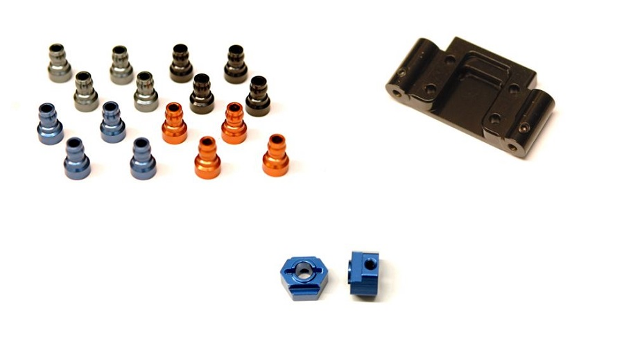 STRC Aluminum Upper Shock Mount Bushings, Rear Hex Adapters & Brass Front Bulkhead For The Associated DR10