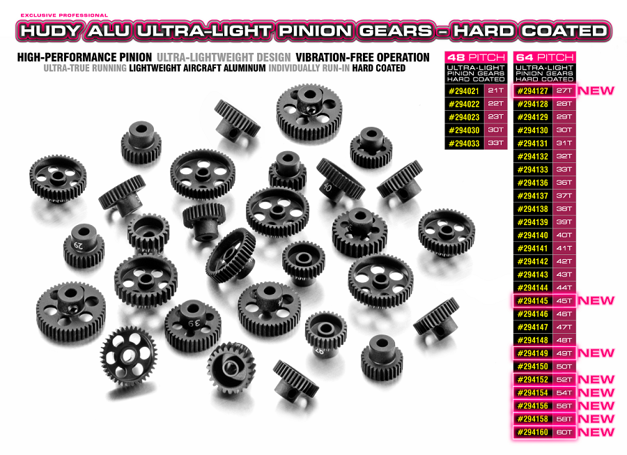 HUDY Hard Coated Aluminum Ultra-Light Pinion Gears