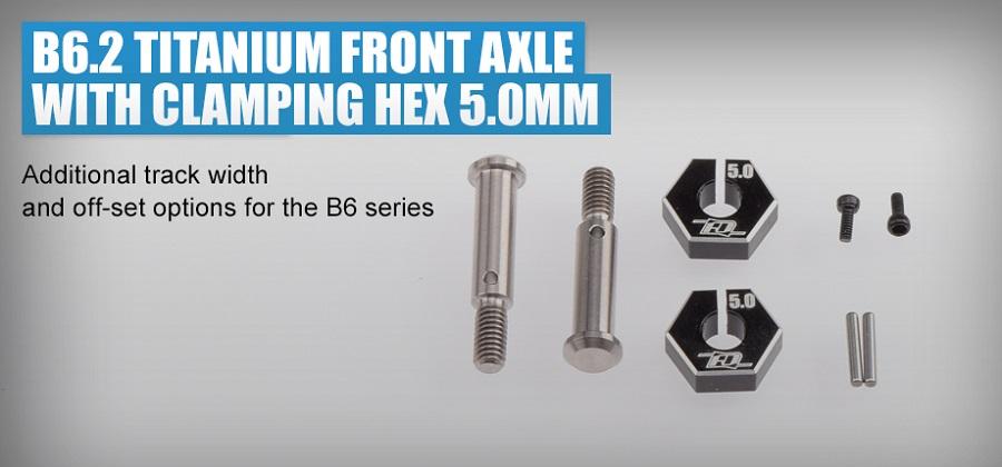 Revolution Design B6.2 | T6.2 | SC6.2 Titanium Front Axle With Clamping Hex