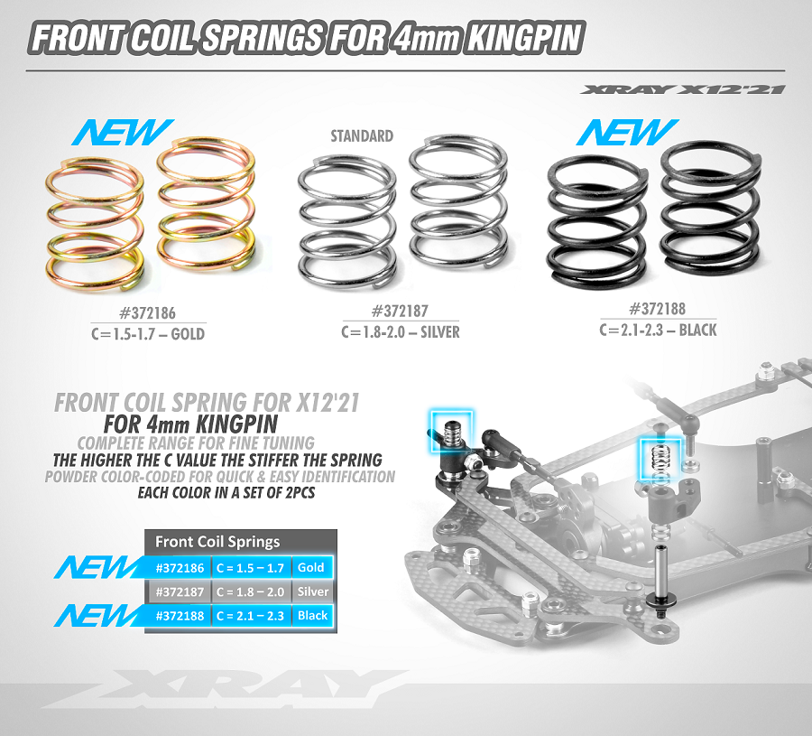 XRAY 4mm Front Coil Springs For The XII, XII Link, X10 & X10 Link