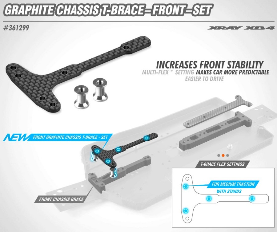 XRAY Front Graphite Chassis T-Brace For The XB4
