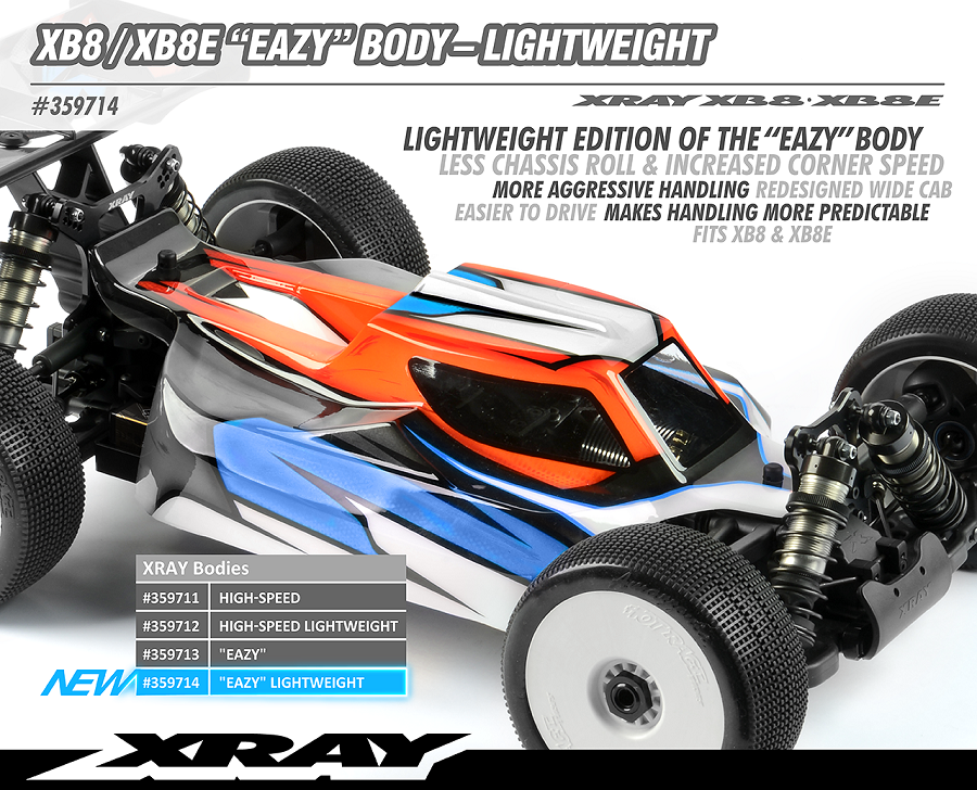XRAY Lightweight Eazy Clear Body For The XB8 & XB8E
