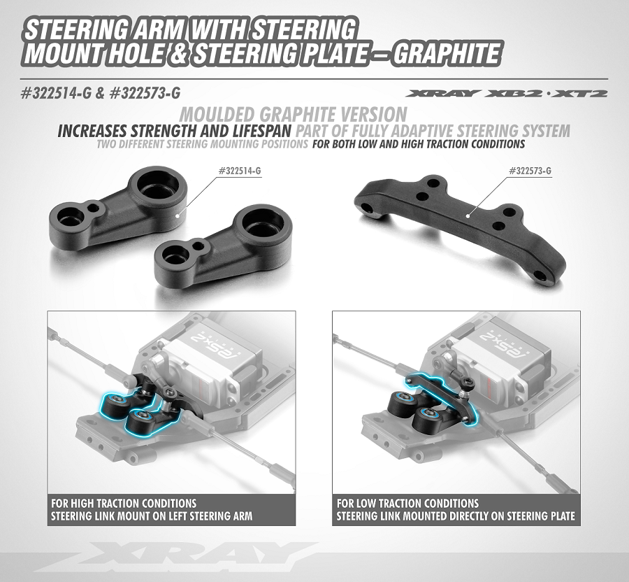 XRAY XB2 Graphite Composite Steering Arm With Steering Mount Hole & Steering Plate