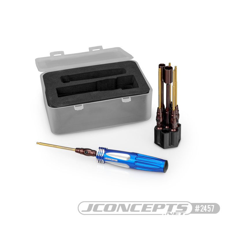 """JConcepts 1/4"""" Hex Driver 7 Piece Wrench Set With Storage Base"""