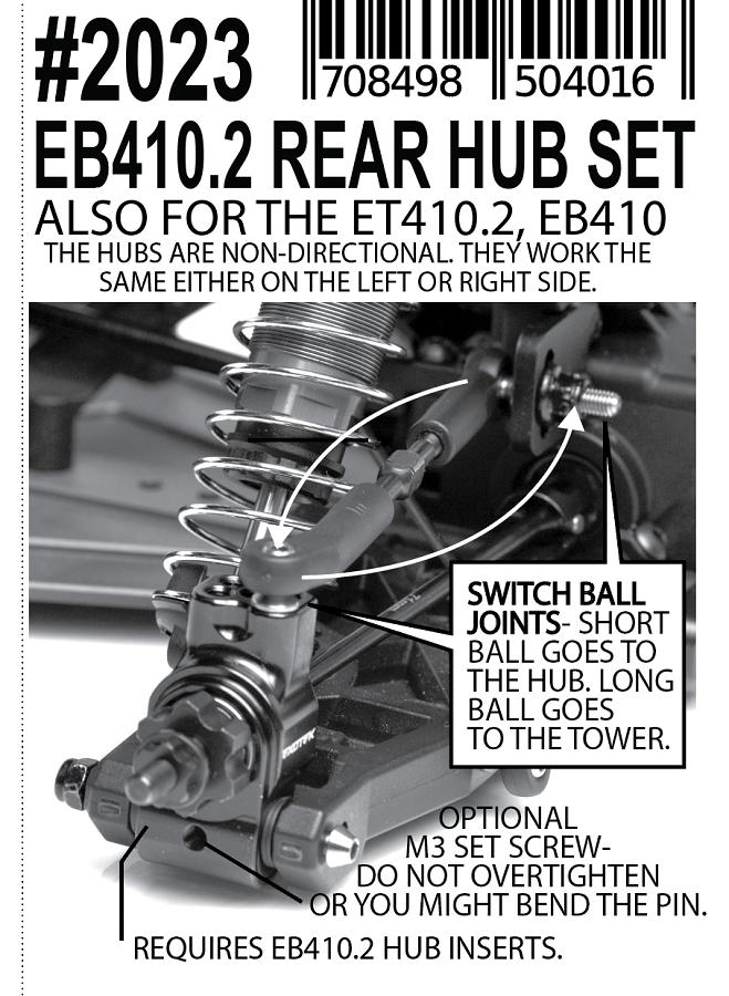 Exotek HD Rear Hubs For The Tekno EB410.2 & ET410.2