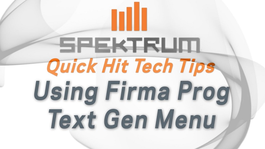 How To Firma Prog Text Gen Menu To Program ESC From Spektrum Transmitter