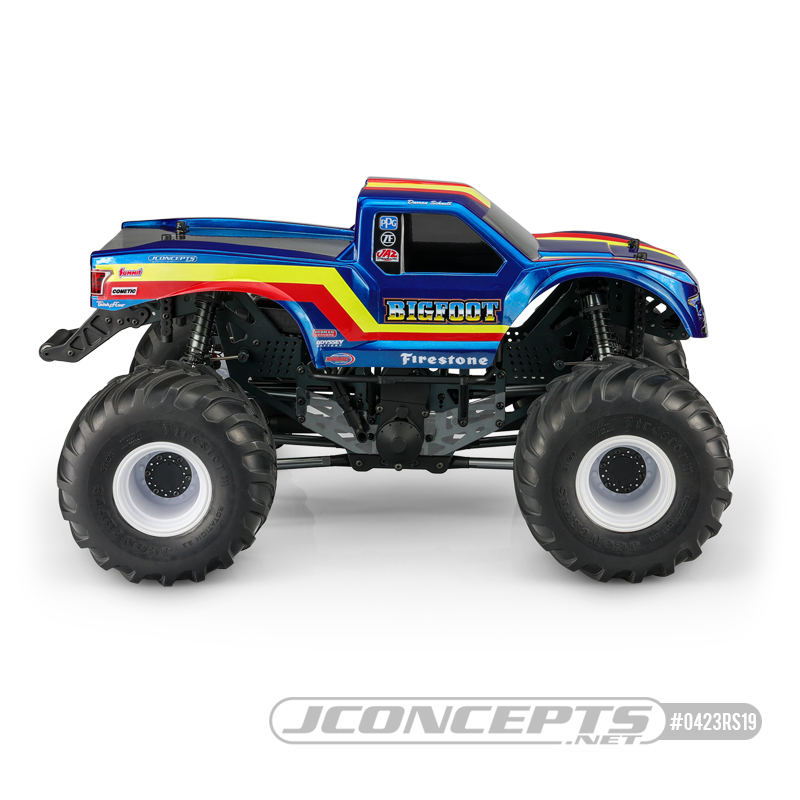 JConcepts Clear 2020 Ford Raptor Body With BIGFOOT 19 Racer Stripe Package