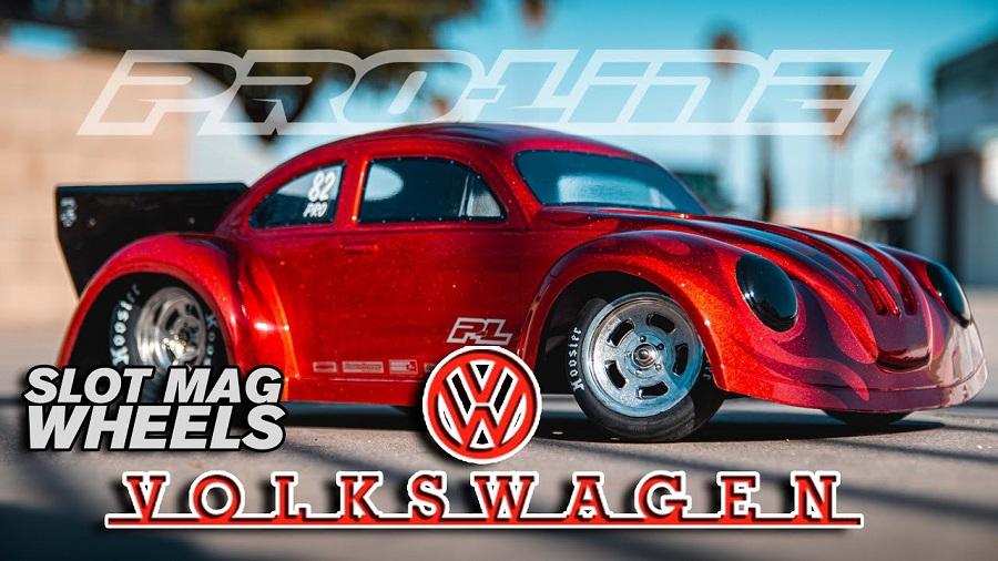 Pro-Line Volkswagen Drag Bug Clear Body & Slot Mag Drag Spec Wheels