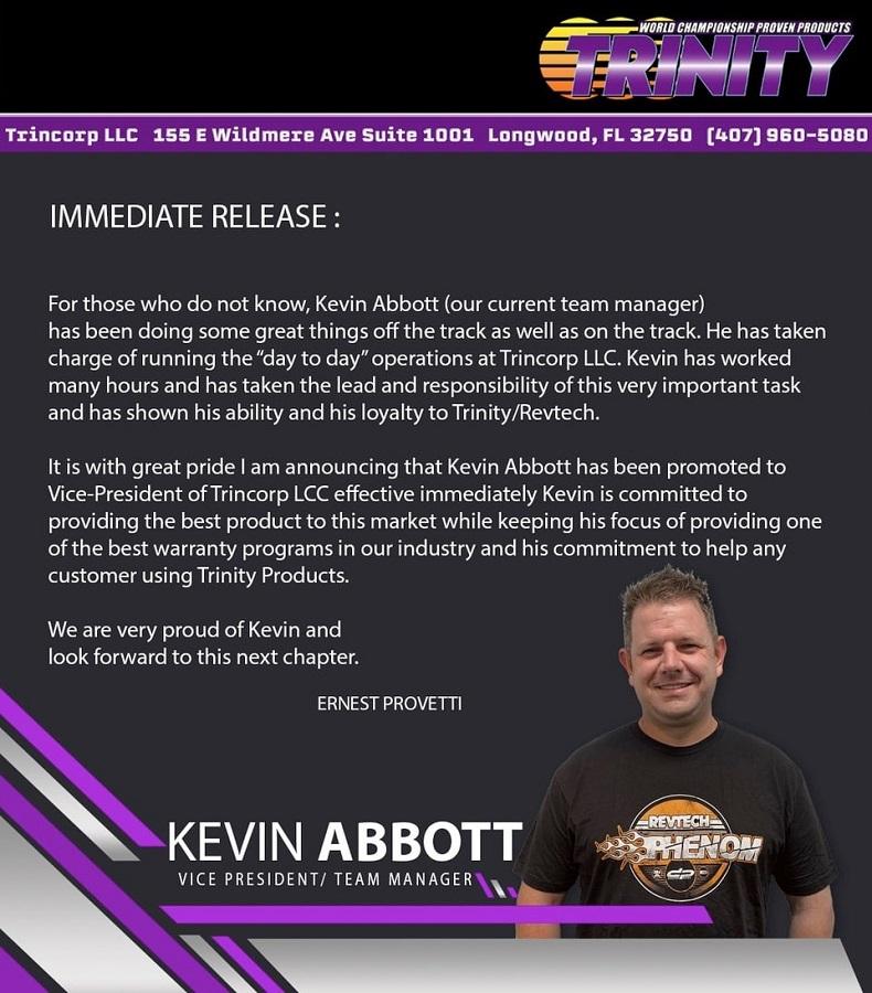 Kevin Abbott Named Vice-President Of Trinity