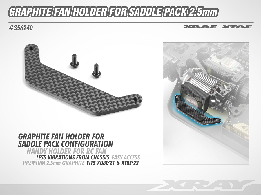 XRAY XB8E/XT8E Graphite Fan Holder For Saddle Packs