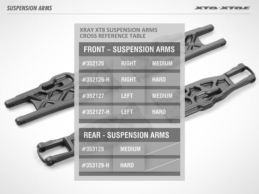 XRAY XT8 & XT8E Composite Solid Lower Suspension Arms